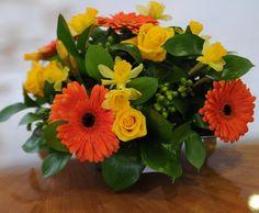 43 MT Yellow Daffodil, Orange Gerbera, Yellow Rose, Mixed foliage
