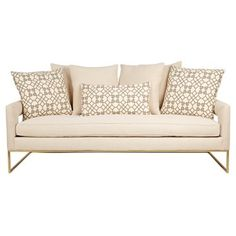 "Check out this item at One Kings Lane! Holt 85"" Sofa, Ivory  Love gold legs."