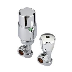 "Angled Thermostatic Chrome Radiator Valves - 15mm / ½"" Standard UK Fittings - Image 1"