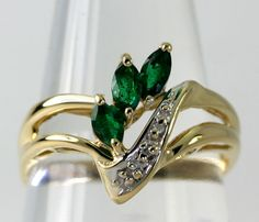 Diamond Accent Marquise Cut Emerald 14k Yellow Gold Chevron Style Ring Size 6.5 #Unbranded #Cheveron