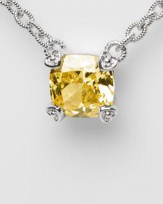 Judith Ripka Silver 7.00 Cttw. Crystal Necklace  CushionWomen #Men #Jewelry