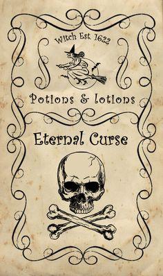 Label bottle Halloween Apothecary : label Eternal curse skull printable