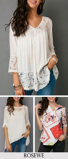 Button Up V Neck Lace Patchwork White Blouse.#Rosewe#top#blouse#womensfashion