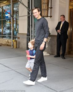 Daddy's boy: Jared was also spotted walking with their two-year-old son Joseph, who was carrying a backpack like his big sister and a water bottle