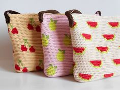 Ravelry: Fruit bags' trio pattern by Maria Isabel