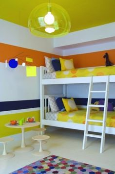 Unisex Bedroom - Not wild about the colors, don't think the girls will go for it but good idea to incorporate different colors into a unisex bedroom.