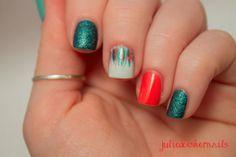 Orange and Teal Skittlette-JulieDoesHerNails