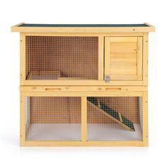 iKayaa AB2005 - Jaula doble de madera de abeto para conejos gallinas patos cuyes hurón u otras aves de corral,35 pulgadas: Amazon.es: Hogar