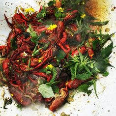 Crayfish with herbs