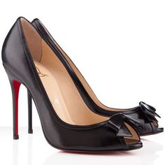 Christian Louboutin Milady Peep Toe Pumps Leather Black