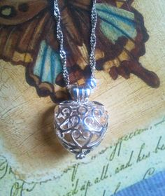 Ornate Heart Cage Urn with Glass Ash Orb by Thoughtfullkeepsakes
