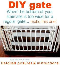 DIY gate for bottom of wide staircase - when the steps are too wide for a regular gate, make this one!