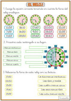 Spanish Worksheets, Diy And Crafts, Map, Words, Spanish Classroom Activities, Preschool Math Activities, Math Worksheets, Interactive Activities, Clocks