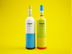 Clever Wine Bottles Inspired by Mondrian and The Simpsons - My Modern Met