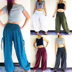 S//M//L OSFM Women/'s Button Drawstring Harem Baggy Dance Hip-Hop Pant