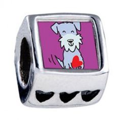 Schnauzer Dog Photo Heart Charms  Soufeel jewelry -To Fit for PANDORA/TROLLBEADS/CHAMILIA