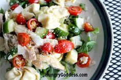 Chicken & Tortellini Salad with Arugula and Lemon Garlic Dressing Recipe