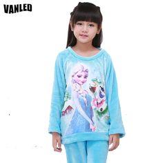 1a67fdc378 Cartoon Girls Pajama Sets Warm Girls Sleepwear Clothes