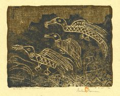 """Gustave Baumann: """"Wings of Prophesy"""", 1966; color woodcut."""