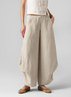 vivid-linen-flared-legs-pants | This stylish pair is guaranteed to inspire your holiday wardrobe. Amazingly chic and comfortable, as well as exceptionally flattering on your figure.  - Elastic pull-on waist     - Front zip and hook closure     - S...Additionally, plus clothing size will be suitable for you.