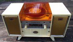 "Janica ""Jewel Box"" AM Radio and 45 rpm record player"