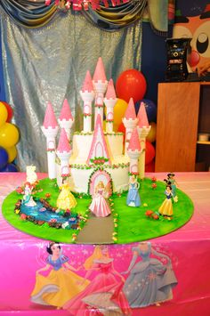 Castle Birthday Cake With Disney Princesses Disney Princess Birthday Cakes, Castle Birthday Cakes, Princess Party, 5th Birthday, Princess Cakes, Disney Princesses, Baby Shower Parties, To My Daughter, Classroom Ideas