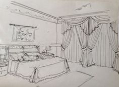 Bedroom sketch Interior Design Presentation, Presentation Boards, Point Perspective, Perspective Drawing, Coloring Books, Coloring Pages, Drafting Drawing, Secret Garden Coloring Book, Interior Sketch