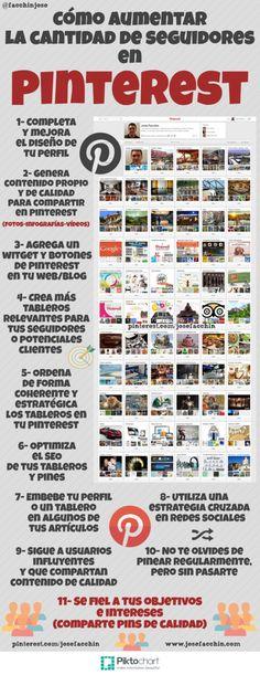 Cómo aumentar seguidores en #Pinterest #infografia #infographic #socialmedia
