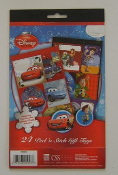Disney Toy Story Cars Pixar Friends Buzz Christmas Peel Stick Gift Tags Stickers