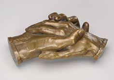 "Harriet Goodie Hosmer, ""Clasped Hands of Robert Browning and Elizabeth Barrett Browning,"" model 1853, bronze, National Gallery of Art, Washington, Gift in honor of Margaret and Raymond Horowitz"