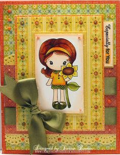 sweet card using a CC Designs Kiki La Rue image Kiki La Rue, Cute Cards, Handmade Crafts, Card Ideas, Birthday Cards, Whimsical, Card Making, Sketches, Cards