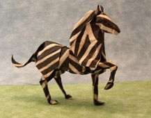 Pendentif origami - Zèbre