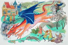"""The dragon Chrysophylax from Tolkien's story """"Farmer Giles of Ham"""". By Pauline Baynes"""