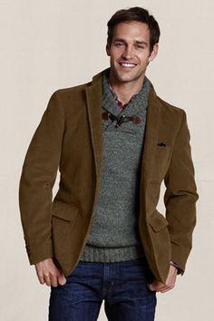 Dark brown corduroy jacket with jeans
