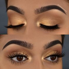 Goldener und hellbrauner Lidschatten-Make-up-Look - Spitze Golden and light brown eyeshadow makeup l Eye Makeup Tips, Smokey Eye Makeup, Skin Makeup, Eyeshadow Makeup, Beauty Makeup, Eyeshadows, Huda Beauty, Makeup Ideas, Makeup Set