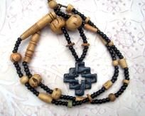 Celtic Knot and Bone Mens Necklace Tribal Beads