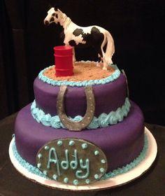 Barrel racing horse birthday cake