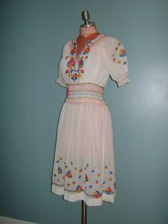 Vintage original 1940s sheer cotton Hungarian embroidered bohemian dress