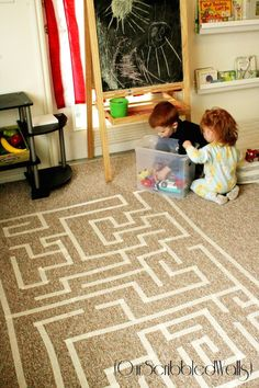 Tape Maze - This would be great for small, quiet movement on cold or rainy days! (Our Scribbled Walls)Masking Tape Maze - This would be great for small, quiet movement on cold or rainy days! (Our Scribbled Walls) Rainy Day Activities, Indoor Activities, Preschool Activities, Projects For Kids, Crafts For Kids, Rainy Day Fun, Rainy Days, Toddler Fun, Infant Toddler