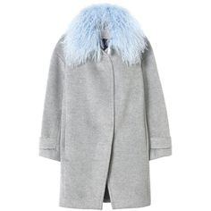 Rebecca Taylor Wool Shearling Cocoon Winter Coat (19 510 UAH) ❤ liked on Polyvore featuring outerwear, coats, jackets, grey melange, gray cocoon coat, belted coat, belted wool coat, cocoon coat i grey coat