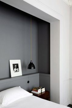 Grey feature wall in white bedroom, built ins? Renovation Inspiration: Make the Most of Your Bedroom with Smart Built-Ins Home Bedroom, Bedroom Decor, Master Bedroom, Bedroom Ideas, Bedroom Nook, Modern Bedroom, Bedroom Lighting, Bedroom Furniture, Gray Bedroom