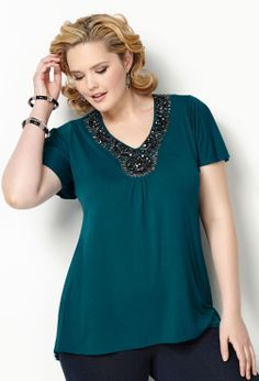 Jeweled Pleat Detail Hi Lo Top-Plus Size Hi Lo Top-Avenue