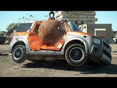 Cars Get Destroyed by Wrecking Ball in Slow Motion - Slow Motion Car Destruction