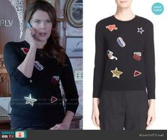 Lorelai's embellished sweater on Gilmore Girls: A Year in the Life.  Outfit Details: https://wornontv.net/62621/ #GilmoreGirls