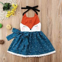 Cute Fox Cartoon Sleeveless Summer Dress