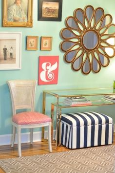 Mint and coral bathroom