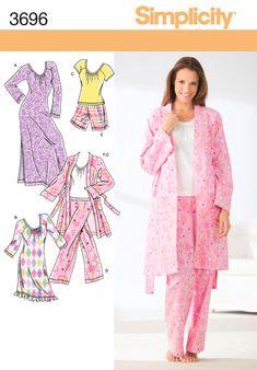 Robe Pajama Nightgown Pattern Simplicity 3696 Raglan Pajama Top Shorts  Pants Size 4 to 16 c6f104b21