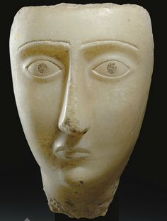 Fragmentary alabaster head, southern Arabia, c. 1st century BCE - 2nd century CE