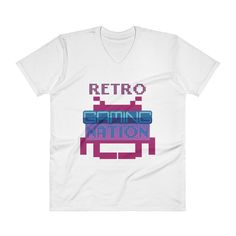85a1618c073 Items similar to Funny Retro Video Gaming Nation T-Shirt - V-Neck T-Shirt  on Etsy
