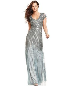 Adrianna Papell Dress, Cap-Sleeve Beaded Sequined Gown
